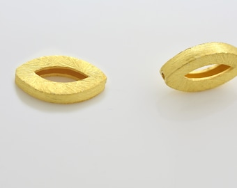 17mm - 2pcs Gold Vermeil Beads, Marquise shape Spacer Beads, brushed finish beads made of solid 925 Sterling Silver beads