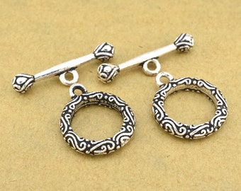 1 Sterling Toggle clasps for Bracelets, antique silver filigree clasps for Jewelry making Clasps for necklaces, Bali silver clasp closures