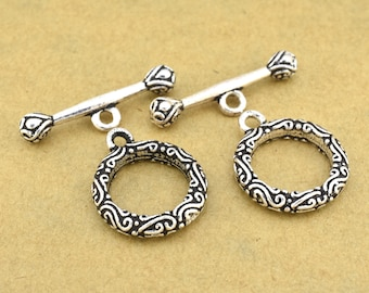 Toggle clasps for Bracelets, antique silver filigree clasps for Jewelry making Clasps for necklaces, Bali silver toggle clasp closures