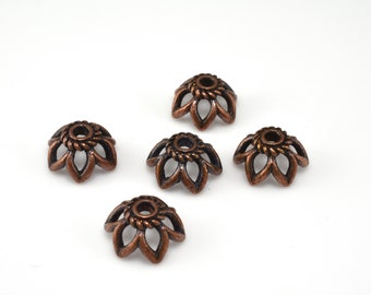 Copper flower bead caps 11mm Dark copper plated Bali bead caps for jewelry making, Large bead caps 5pcs