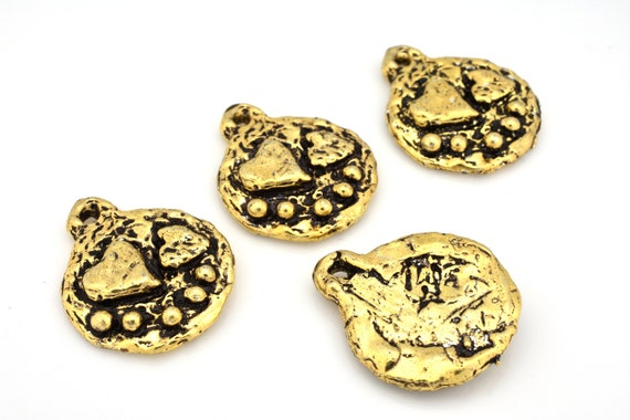 Silver Yellow Plated Tiger Charm 20mm