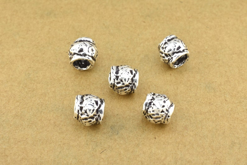 7mm 5pc Artisan silver beads antique silver spacers for jewelry making silver plated beads organic silver findings rustic silver beads