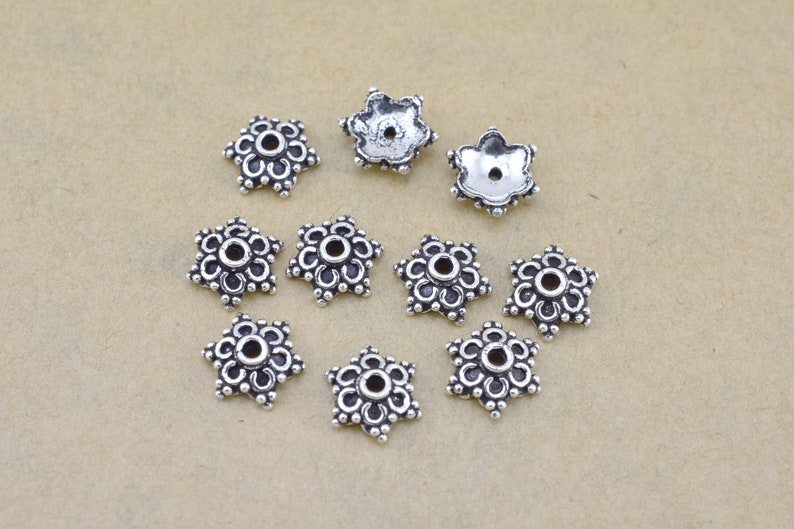 Artisan Handmade 10pc Silver Bead Caps bead caps for jewelry making Bali style 8mm FIne Silver Plated