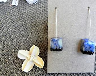 sale!! silver earrings, Dangle earrings, simple Drop earrings, boho earrings, Polymer clay earring, unique earrings, Minimalist Earrings