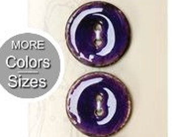 Belle Buttons By Dritz Coconut 30mm (13/16 inch) Item BB752 and 23 mm (7/8 inch) Item BB755 Purple Round Medium Glossy