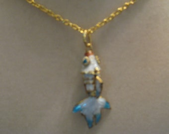 Cloisonne necklace 19 in. light blue fish