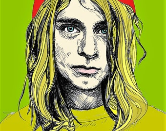 Yellow Cobain , Celebrity Art Prints, All profits donated to TheirForeverHome.org