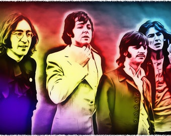 Neon Beatles2, Celebrity Art Prints, All profits donated to TheirForeverHome.org