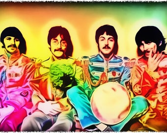Neon Beatles 4, Celebrity Art Prints, All profits donated to TheirForeverHome.org
