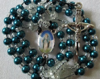 blue rosary,blue rosaries,rosary with blue glass beads,roman catholic rosary,catholic rosaries,rosaries,religious gifts,sister,friend rosary