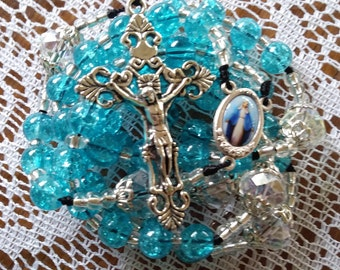 Blue Catholic Rosary, rosaries,roman catholic rosaries,mom gift,mothers gifts,blue rosaries