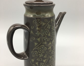 Vintage Interpace Franciscan Madeira Earthenware Coffee Pot and Lid. 70s Floral Earthenware Coffee Pot