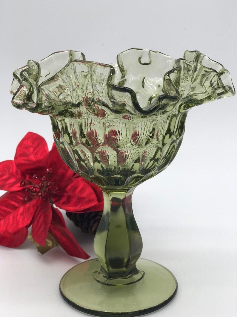 Fenton Ruffled Pedestal Candy Dish Vintage Fenton Green Ruffled Pedestal Compote