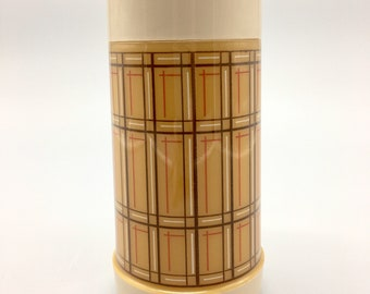 Aladdin Best Buy Wide Mouth Vacuum Bottle. Vintage Aladdin Brown Plaid Thermos.