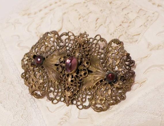ART NOUVEAU Purple Cabochon Vintage  Brooch Pin - image 2