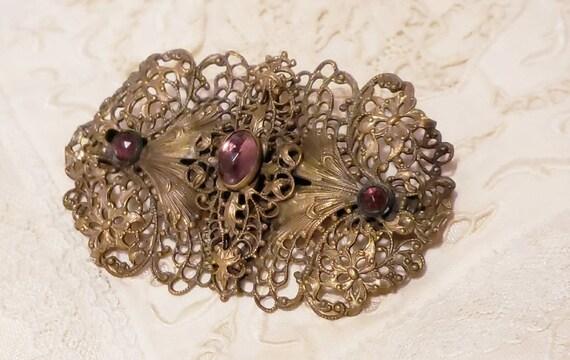 ART NOUVEAU Purple Cabochon Vintage  Brooch Pin - image 1