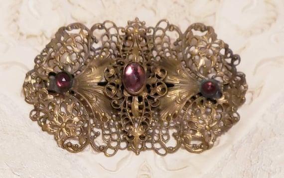 ART NOUVEAU Purple Cabochon Vintage  Brooch Pin - image 4