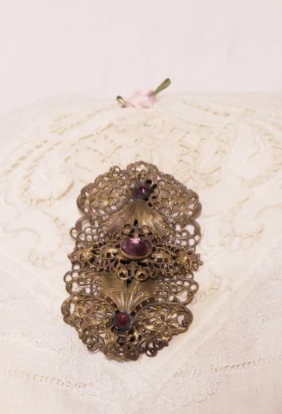 ART NOUVEAU Purple Cabochon Vintage  Brooch Pin - image 6