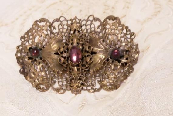 ART NOUVEAU Purple Cabochon Vintage  Brooch Pin - image 3