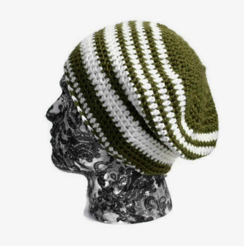 20b82678f Khaki Green and Cream Striped Unisex Slouch Beanie, Slouchy Hat for Him or  Her