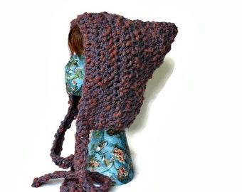 Purple Pixie Hat, Pixie Hood, Wool Hat, Pixie,  Crochet Pixie Hat , Hippy Hat, Chunky Winter Hat, Colourful Hat, Winter Fashion,  Boho Hat