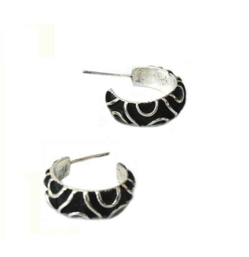 925 Silver Half Round Stud Stud Earrings