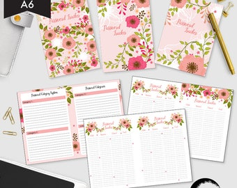 A6 size Password Tracker, Bold Graphic Floral Password Organizer, Password Tracker, Password Printable PDF - CMP-214.1