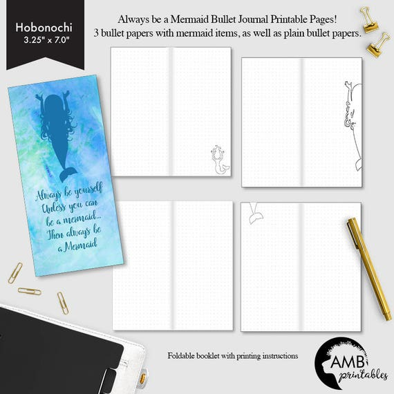 Hobonichi-size Bullet Travelers Journal, Dot grid page, Blank bullet page,  Mermaid theme bullet pages - CMP-215 5