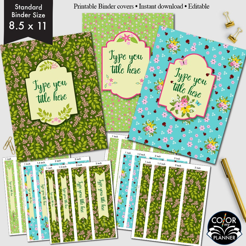 Binder Covers 8.5 X 11 Personalized Binder Inserts And