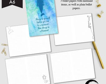 A6 size Bullet Journal printable, Dot grid page, Blank bullet pages, Mermaid theme bullet pages - AMBP-215.1