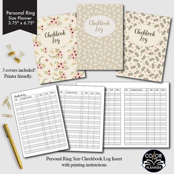 personal rings size planner checkbook checkbook register etsy