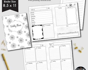 Letter size 8.5 x 11 Weekly printable, week on two pages, weekly planner, weekly calendar, weekly agenda printable, CMP-222.15