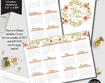 Passport size TN Year at a glance printable insert, 2017 and 2018 Planner Insert.  CMP-235.7
