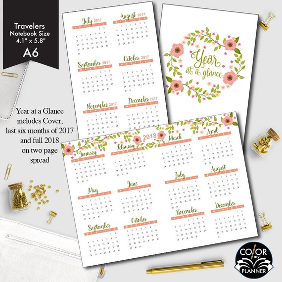 A6 Size Year At A Glance Printable Insert 2017 And 2018 Etsy