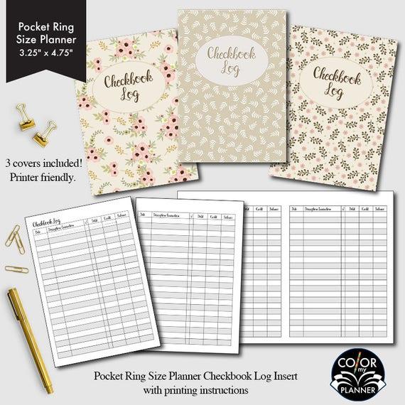 pocket rings size planner checkbook checkbook register etsy