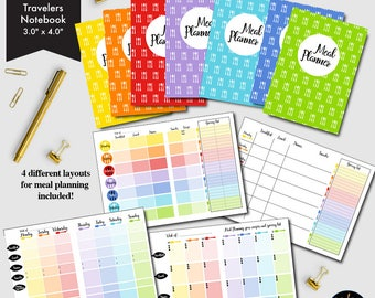 Meal Planner Micro Size Printable, 4 different Weekly Meal Planners, Grocery lists, Menu Planning, printable Insert-CMP-228.6