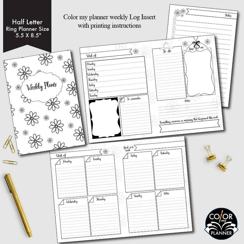 image regarding Ring Size Template Printable titled Fifty percent Letter Ring sizing Weekly printable, 7 days upon 2 webpages, weekly planner, weekly calendar, weekly plan printable, CMP-222.4