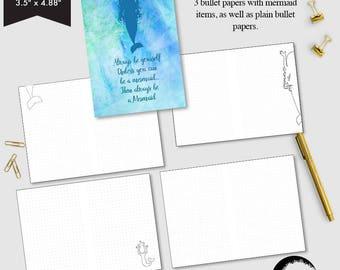 Passport size Bullet Journal printable, Bullet printable pages, Dot grid page, Blank bullet pages, Mermaid theme bullet pages - AMBP-215.7