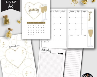 January Monthly printable, A6 Monday Start - January 2017 Month, Week, Daily UNTIMED Travelers Notebook Insert - CMP-250.1