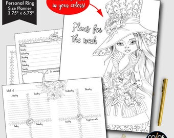80%OFF Weekly Printable Personal Ring Size, Andrea Weekly Plan Printable Planner Insert.  CMP-224.8