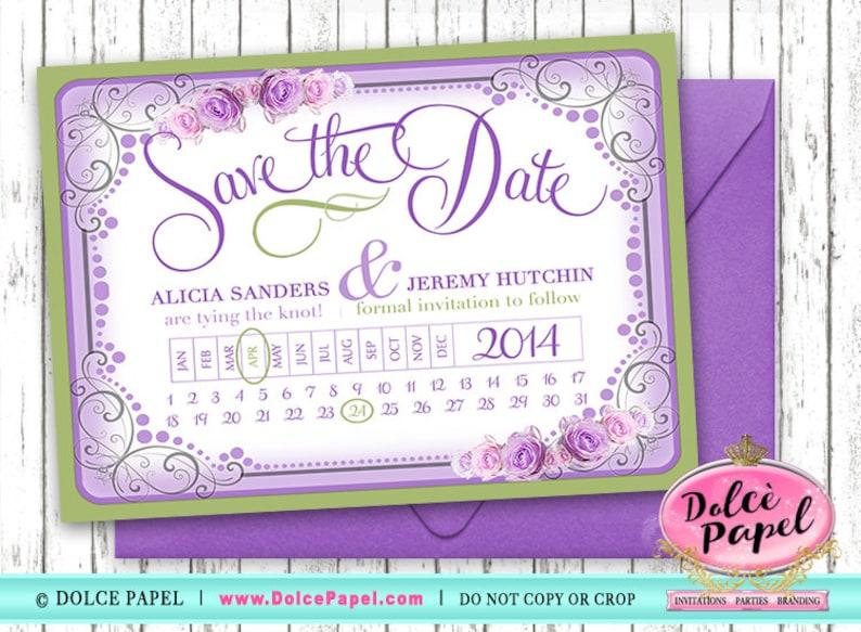 DIGITAL or Print! Sage /& Lavender Vintage Rose 5x7 Save The Date Wedding Cards