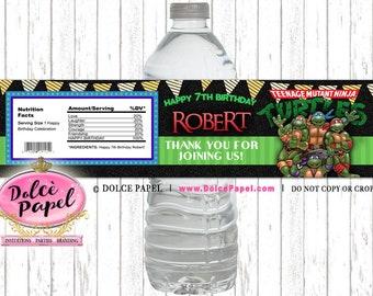10 Ninja Turtles Party Custom Water Bottle Labels Cool Ninja Turtles Party Favors