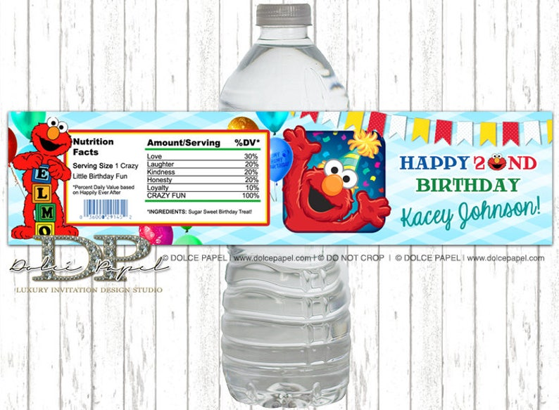 ANY AGE 10 Sesame Street ELMO Red and Teal 2nd Birthday Birthday Party Water Bottle Labels
