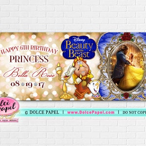 10 Elegant Beauty and the Beast New Movie Birthday Party Large Banner Sign
