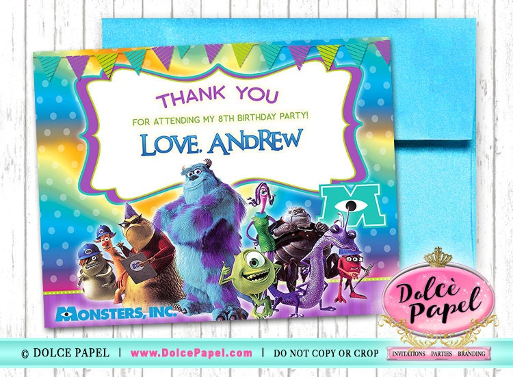 10 Monsters Inc Colorful Sully And Mike Birthday Party Thank Etsy