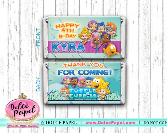 10 BUBBLE GUPPIES Teal and Pink Birthday Party Favors Large Hersheys Candy Bar Wrappers