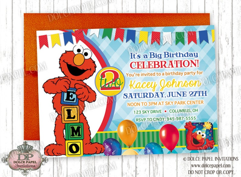10 ELMO Sesame Street 2nd Birthday Colorful Red Teal And