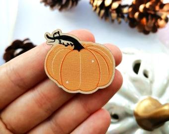Orange Pumpkin Wooden Pin- 35mm, Birch Plywood, Halloween, Autumn, Kawaii Pins, Matt Printed