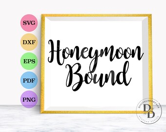 Honeymoon SVG, Wedding SVG, Script Svg, Wedding SVG Font, Wedding Vinyl Cutting Files, Dxf, Svg fonts for cricut
