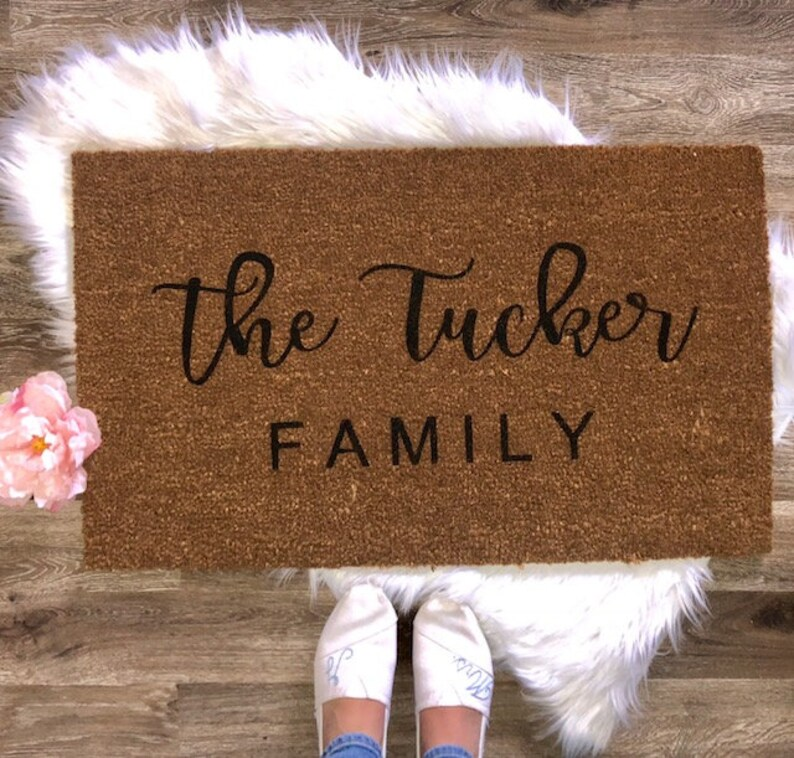 Personalized Welcome Door Mat With Last Name Established Date